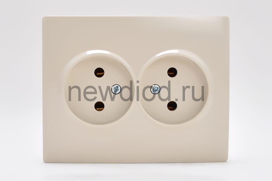 KARINA Розетка двойная б/з керамика крем (10шт/120шт)
