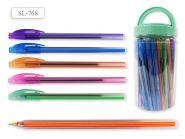 Ручка шариковая В БАНКЕ SL 768, цвет чернил - СИНИЙ, цветной корпус с полосками