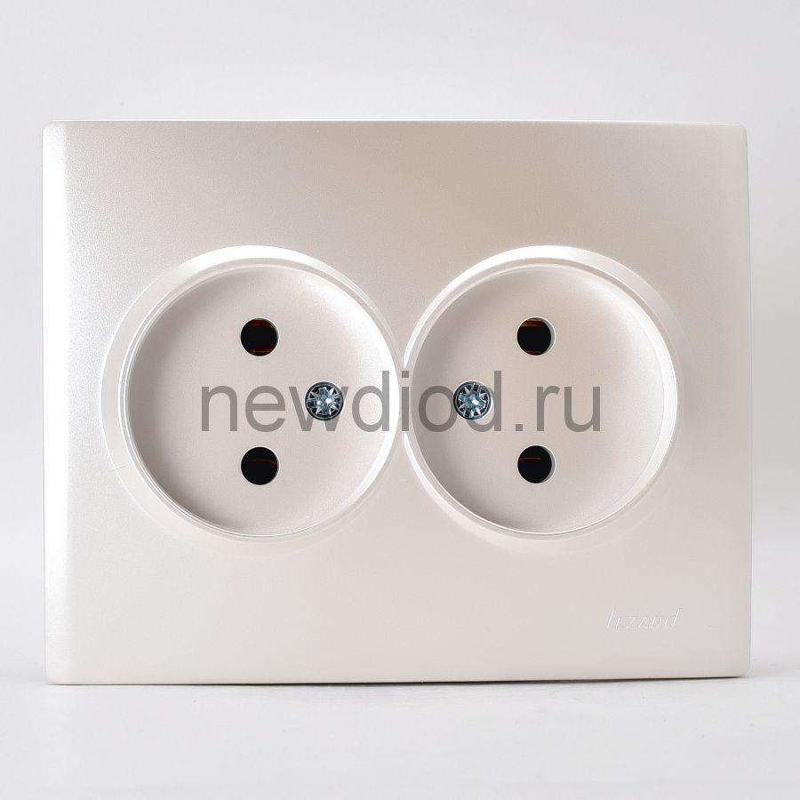 KARINA Розетка двойная б/з керамика жемчужно-белый перламутр (10шт/120шт)