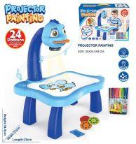Детский проектор для рисования со столиком PROJECTOR PAINTING, голубой (для мальчиков)