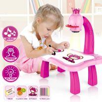 Детский проектор для рисования со столиком PROJECTOR PAINTING, розовый (для девочек)