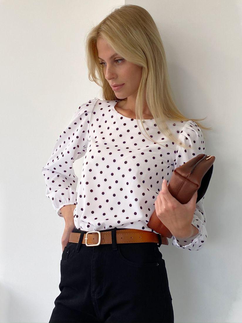 s2078 Блуза в горошек с объёмными рукавами
