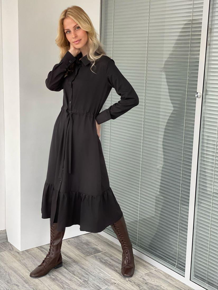 s2085 Платье-рубашка с кулиской чёрное