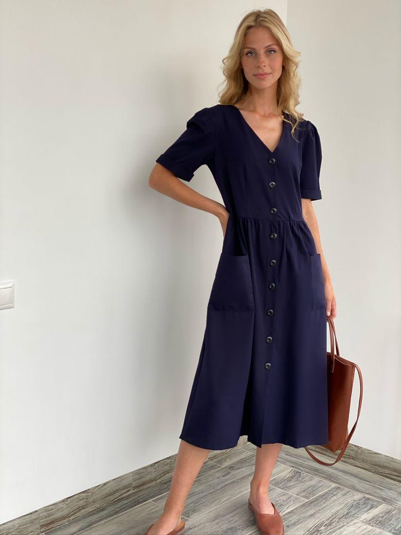 s2089 Платье чернильное в стиле ретро