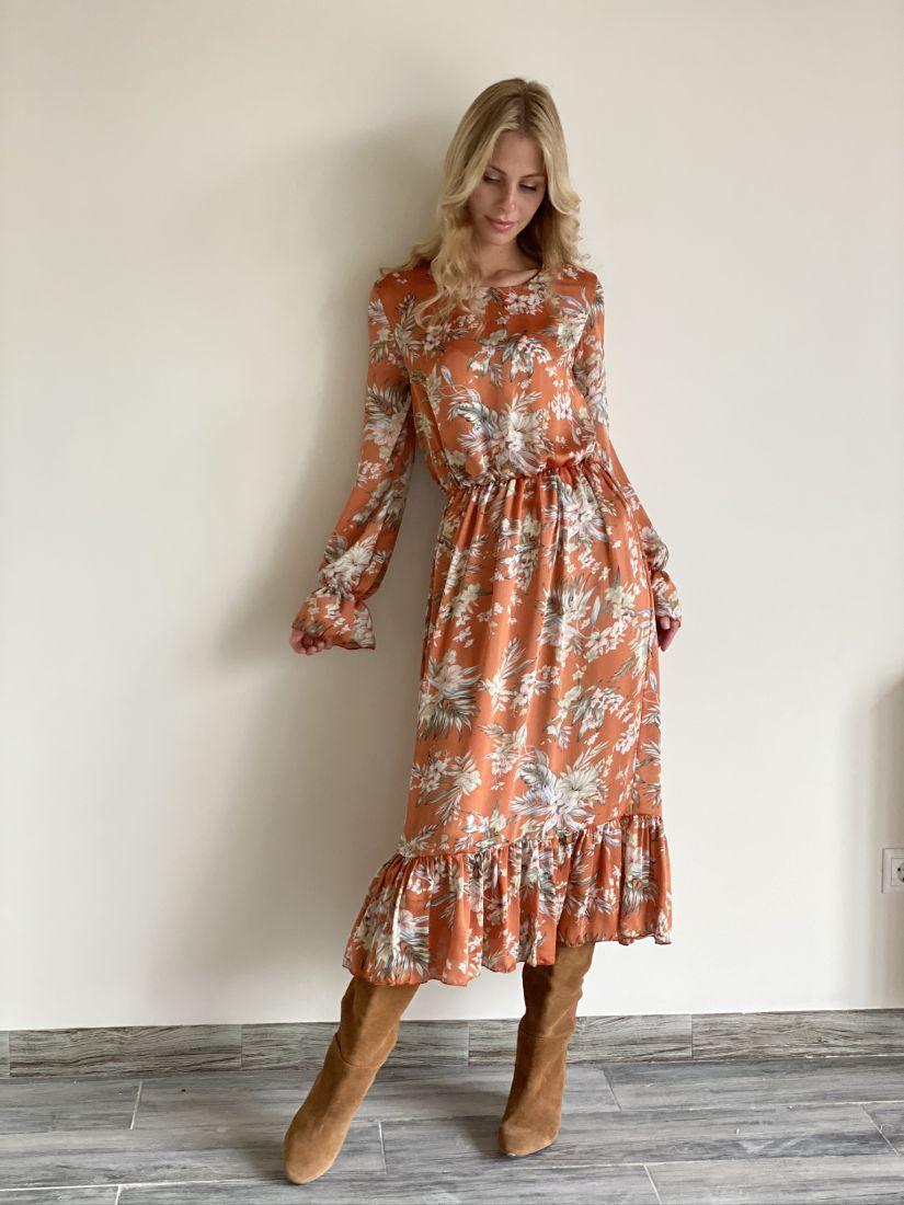 s2091 Платье с воланами в осенней расцветке на подкладе