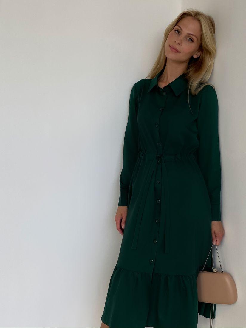 s2093 Платье-рубашка с кулиской изумрудное