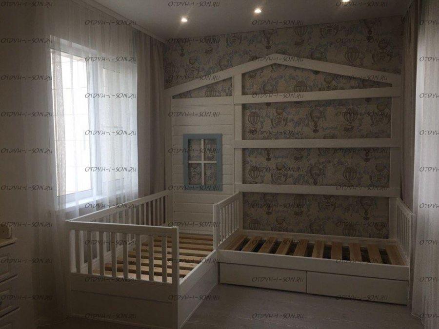 Кровать Домик угловой Fairy Land №25 (для двоих детей), любые размеры