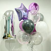 Облако шаров 1 годик с цифрой серебро -1