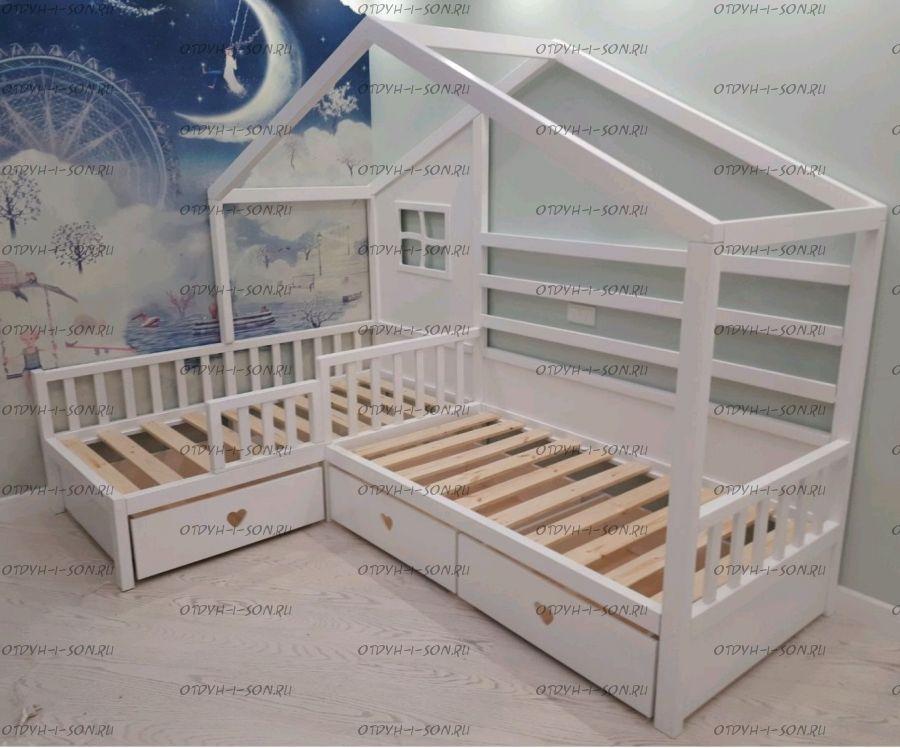 Кровать Домик угловой Fairy Land №30 (для двоих детей)