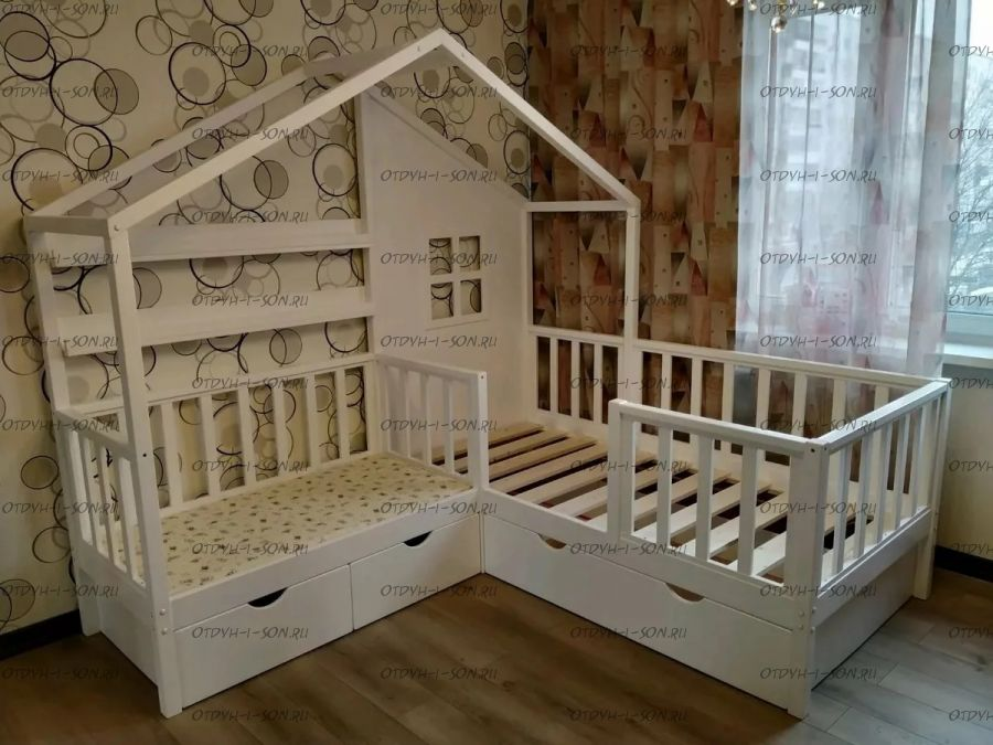 Кровать Домик угловой Fairy Land №2 (для двоих детей)