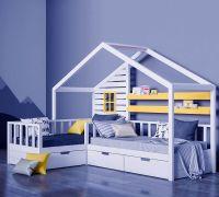 Кровать Домик угловой Fairy Land №33 (для двоих детей)
