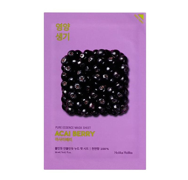 Витаминизирующая тканевая маска для лица с ягодами асаи  Holika Holika Pure Essence Mask Sheet - Acai Berry
