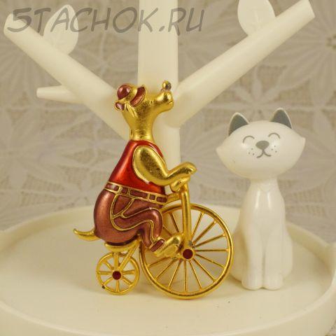 """Брошь """"Мишка-велосипедист"""" (Danecraft США)"""