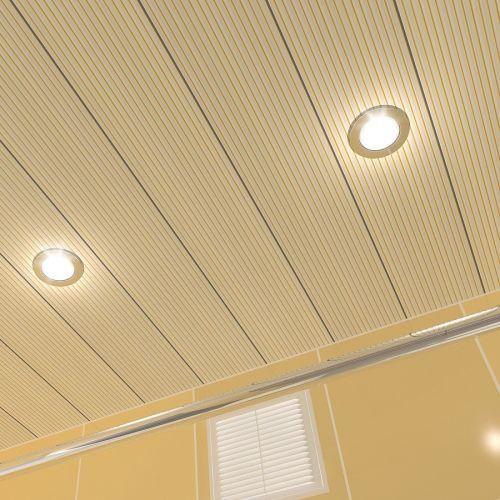 Потолок реечный Cesal 203 Золотая полоса