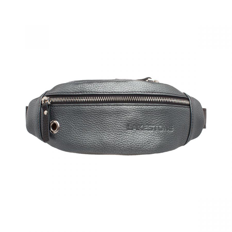 Женская кожаная поясная сумка сумка Lakestone Bisley Silver Grey