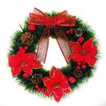 Новогодний декоративный венок Рождественская звезда, 33 см