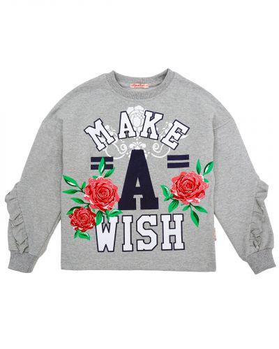 """Лонгслив для девочки 9-12 лет Bonito kids """"Make A wish"""""""