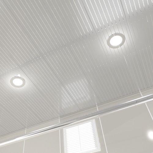 Потолок реечный Cesal B22 Металлик с металлической полосой