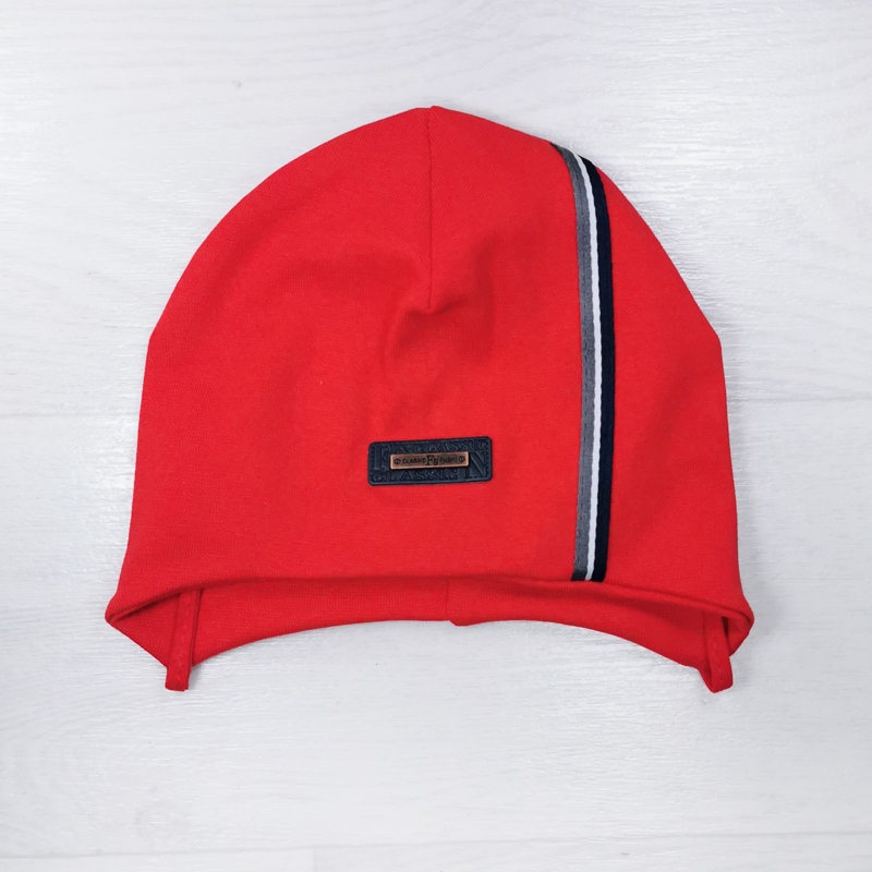 вн1170-23 Шапка трикотажная классическая на завязках FS красная