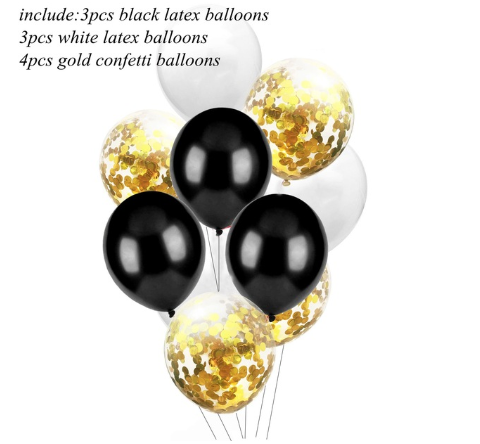Цветные латексные шары воздушные шары с конфетти золото №1