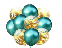 Цветные латексные шары хром  и воздушные шары с конфетти №31
