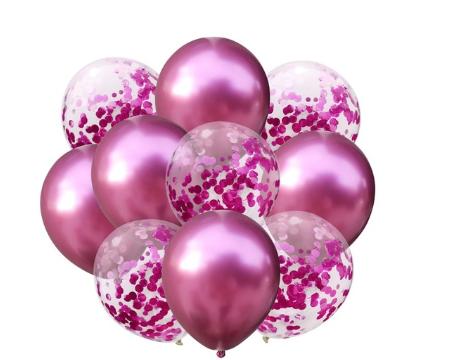 Гелиевые воздушные шары с конфетти РОЗОВЫЙ ХРОМ