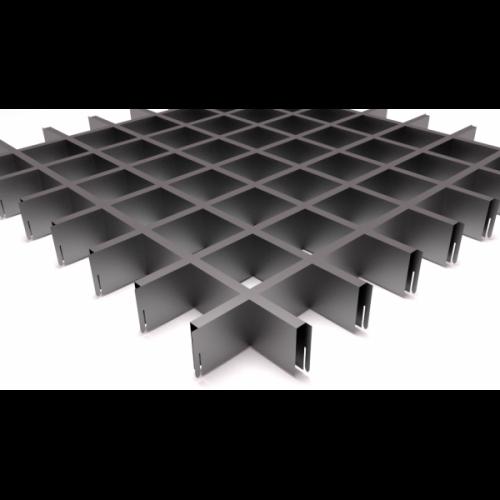 Потолок Грильято 75х75 металлик