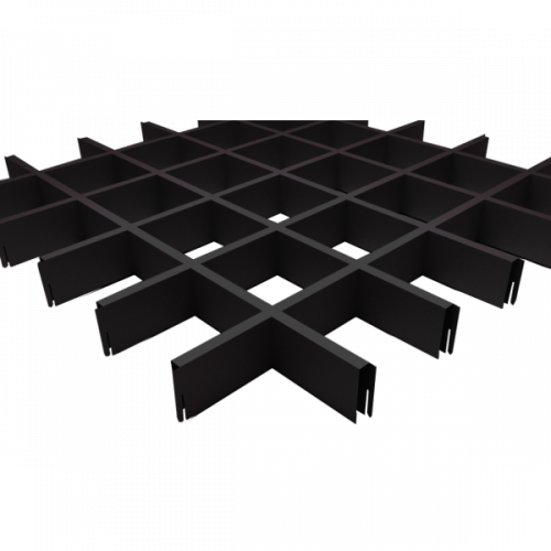 Потолок Грильято 100х100 черный матовый