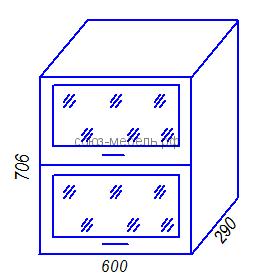 Кухня Тиса BГС600 Шкаф навесной горизонтальный стекло