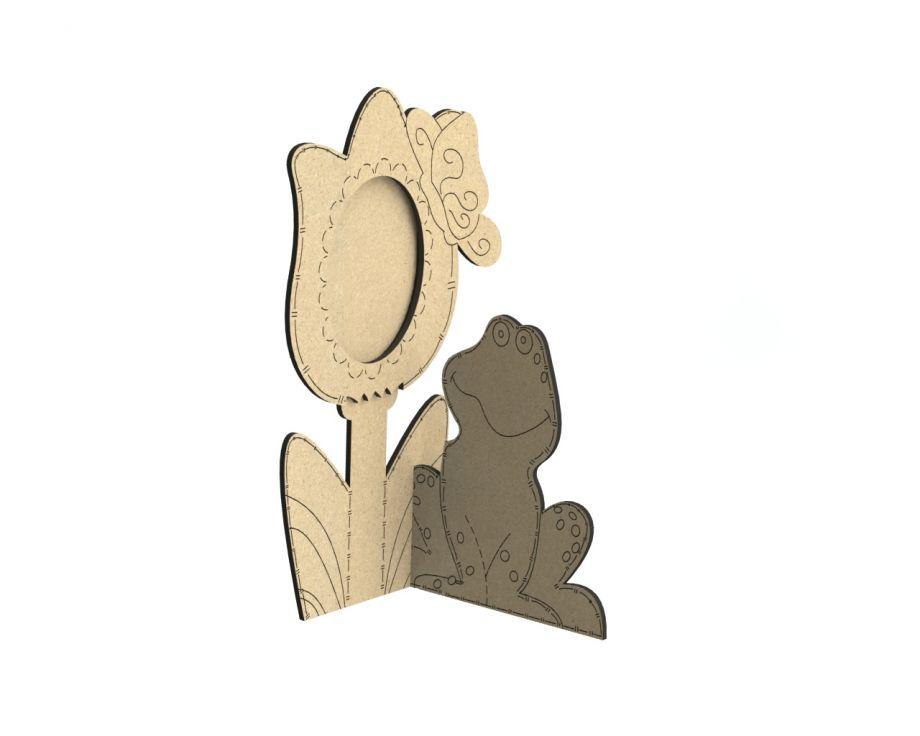 Фоторамка одиночная с цветком и лягушкой на заказ