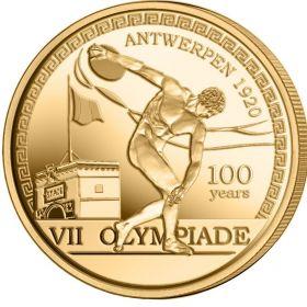100 лет Олимпийским играм в Антверпене2,5 евро Бельгия  2020 блистер на заказ