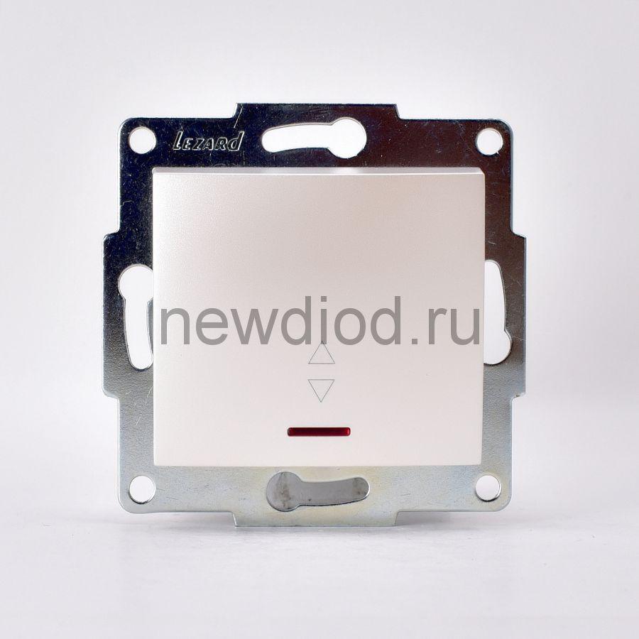 KARINA Выключатель проходной с подсветкой жемчужно-белый перламутр (10шт/120шт)