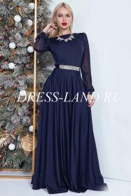 Темно-синее вечернее платье в пол с длинными рукавами