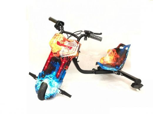 Электроскутер Дрифт Карт Drift-Trike Огонь и лед