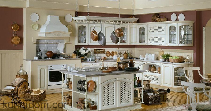 Кухня Роза декапе с островом