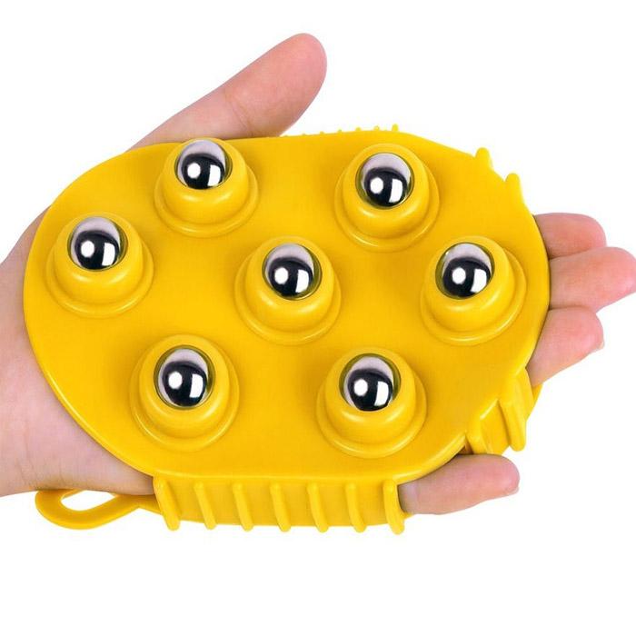 Массажер-варежка с 7 массажными шариками, Цвет: Оранжевый
