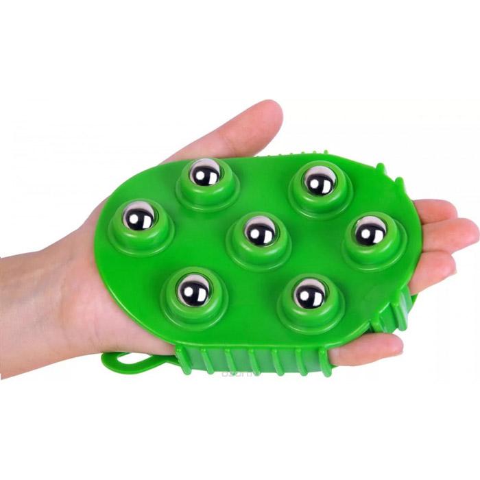 Массажер-варежка с 7 массажными шариками, Цвет: Зеленый