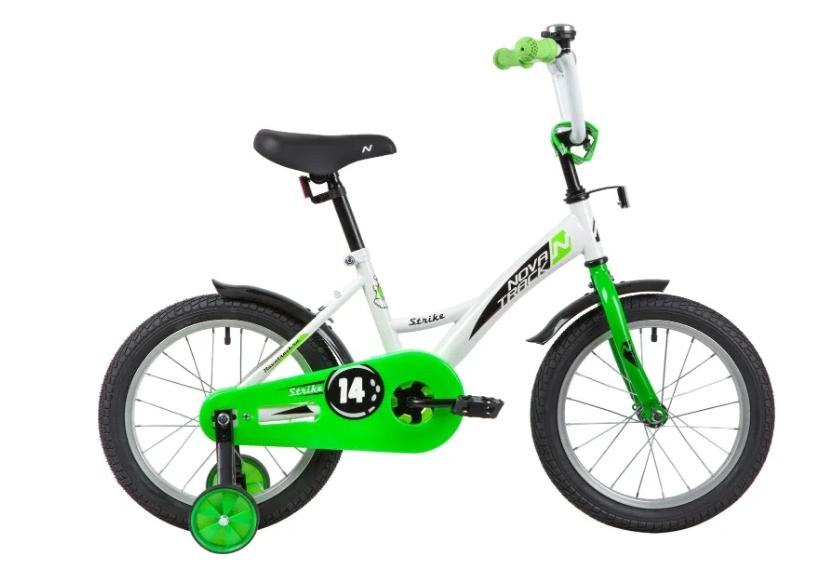 Детский велосипед Novatrack Strike 14 (2020) Белый-зелёный (139625)