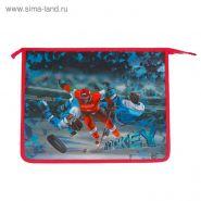 Папка для тетрадей А4, молния сверху, ЭКСТРА-ВМЕСТИМОСТЬ (ширина 80 мм), металлизированный и 3D-рисунок, «Хоккеисты»