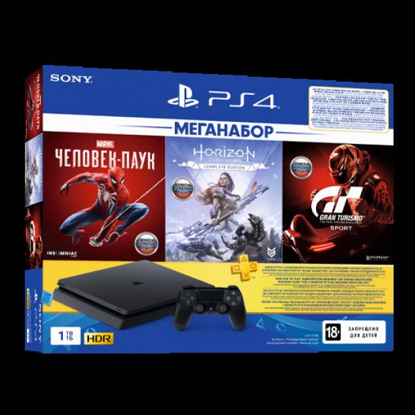 Sony PlayStation 4 Slim 1TB (CUH-2208B) + GTSport + Horizon Zero Dawn + Spider Man + PS Plus 3 месяца