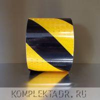 Светоотражающая лента 0,1х25 м желто-черная диагональная - 3 фото
