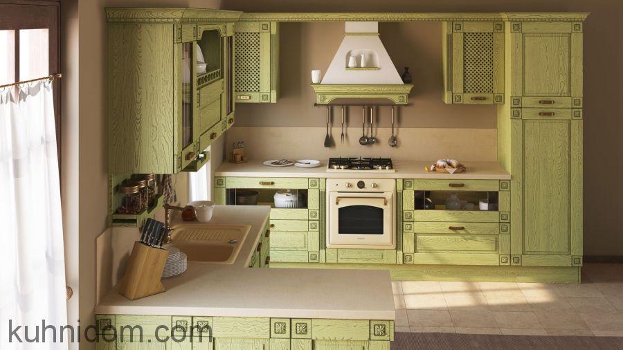 Кухня Флореале Верде с открытой полкой