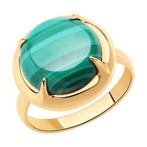 Кольцо из золочёного серебра с малахитом 83010063 SOKOLOV