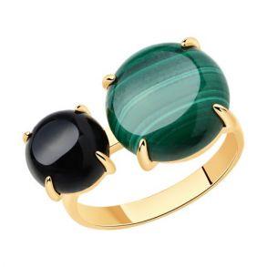 Кольцо из золочёного серебра с агатом и малахитом 83010064 SOKOLOV