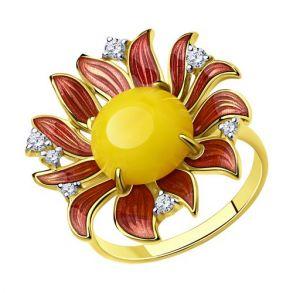 Кольцо из золочёного серебра с и эмалью и фианитами и синтетическим янтарём 83010066 SOKOLOV