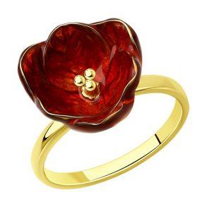 Кольцо из золочёного серебра с эмалью 93010871 SOKOLOV