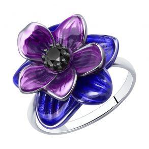 Кольцо из серебра с эмалью и фианитом 94013203 SOKOLOV