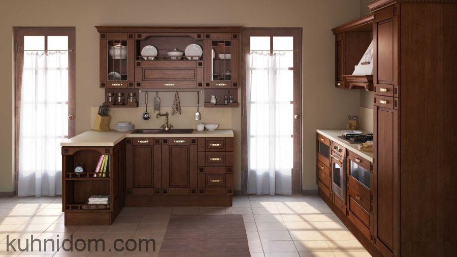 Кухня Флореале Тик с витринами