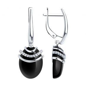 Серьги из серебра с агатами и фианитами 83020112 SOKOLOV
