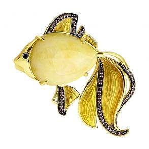 Брошь из золочёного серебра с янтарём и фианитами 83040021 SOKOLOV
